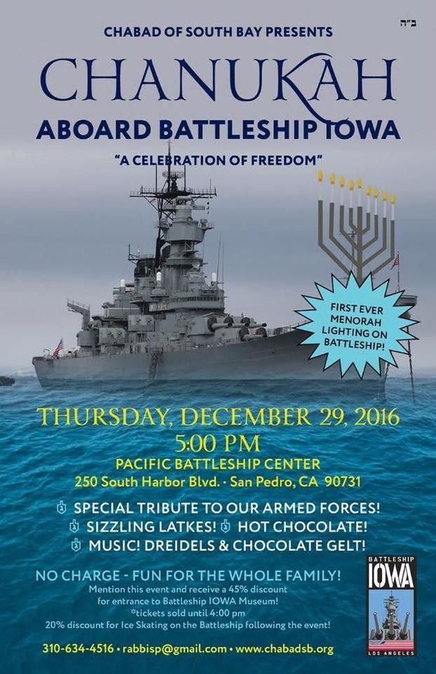 Chanukah Aboard The Battleship Iowa  San Pedro Calendar