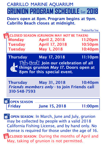 GRUNION PROGRAM SCHEDULE 2018