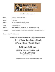 Food Giveaway 2-9-19-3-23-19