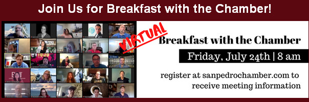 Flyer for Virtual San Pedro Chamber Breakfast