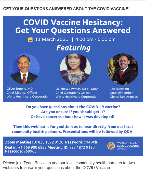 Covid Vaccine Zoom Meeting Flyer