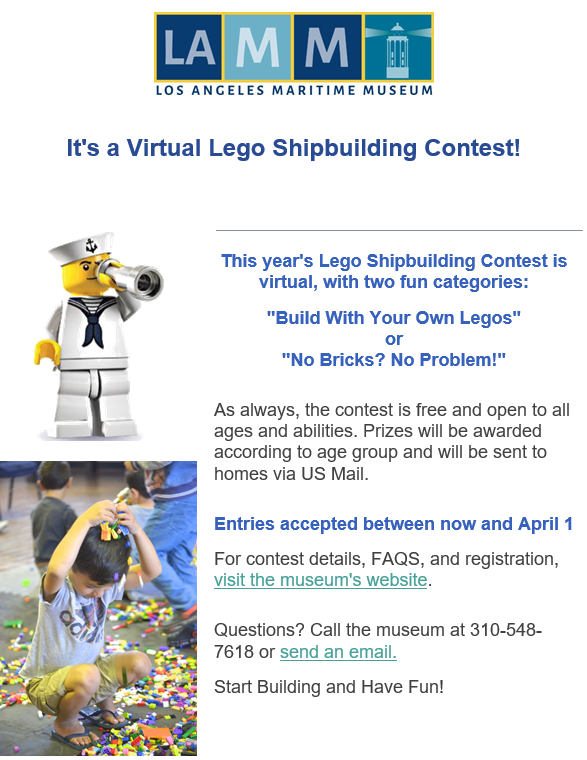 Virtual Lego Contest at Los Angeles Maritime Museum 4-1-21