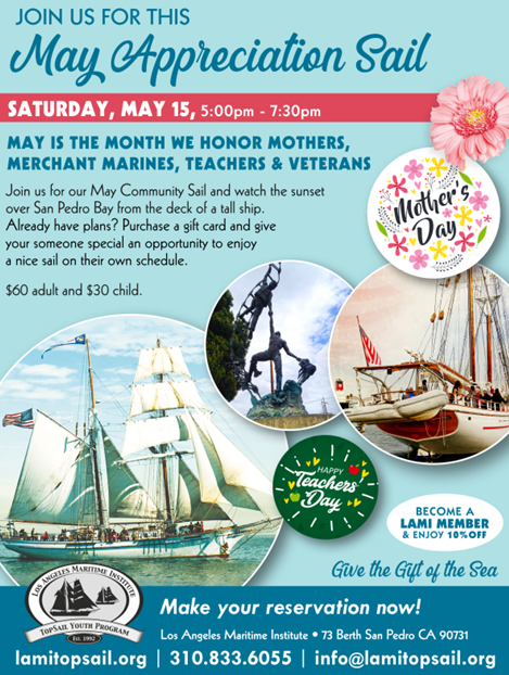 Los Angeles Maritime Institute flyer for Mother's Day Sunset Sail