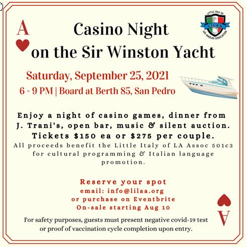 Little Italy Fundraiser on the Sir Winston Yacht 9-25-21